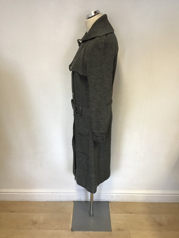 BETTY BARCLAY GREY MERINO WOOL KNIT BELTED KNEE LENGTH COAT SIZE 10