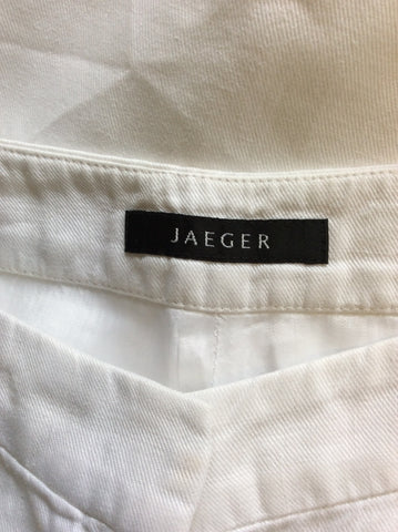 JAEGER WHITE WIDE LEG LINEN TROUSERS SIZE 10
