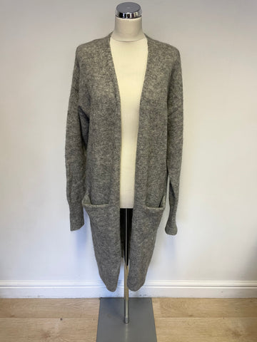 & OTHER STORIES GREY MOHAIR BLEND LONG CARDIGAN SIZE M