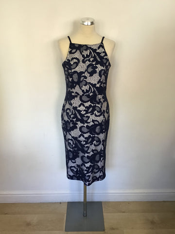 LIPSY LONDON BLUE & WHITE LACE STRETCH PENCIL DRESS SIZE 14