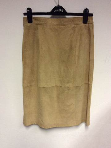 GERRY WEBER CAMEL SUEDE PENCIL SKIRT SIZE 12