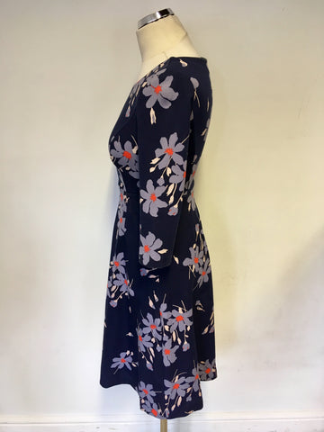 BODEN NAVY BLUE FLORAL PRINT 3/4 SLEEVE DRESS SIZE 6P