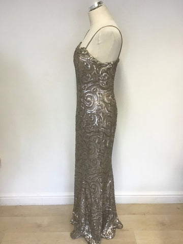 BRAND NEW PHASE EIGHT COLLECTION ARIELLE PRALINE FULLY SEQUINNED LOVE EVENING DRESS SIZE 14