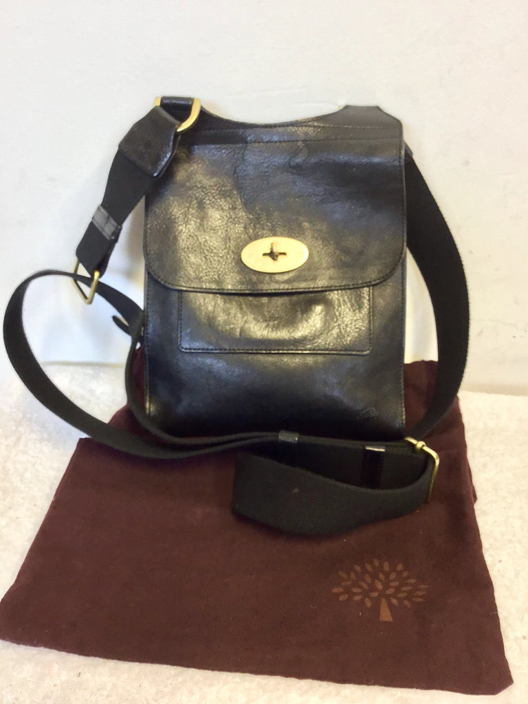 ee171a767dff MULBERRY BLACK LEATHER ANTONY CROSS BODY MESSANGER BAG – Whispers ...