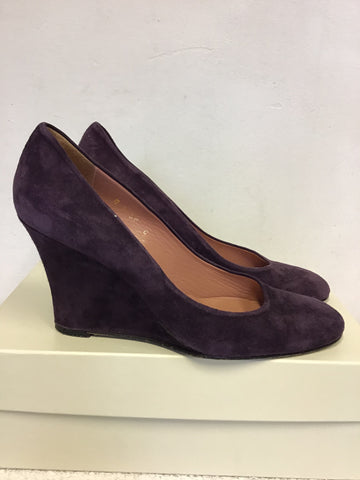 LK BENNETT DEEP PURPLE SUEDE WEDGE HEELS SIZE 6/39