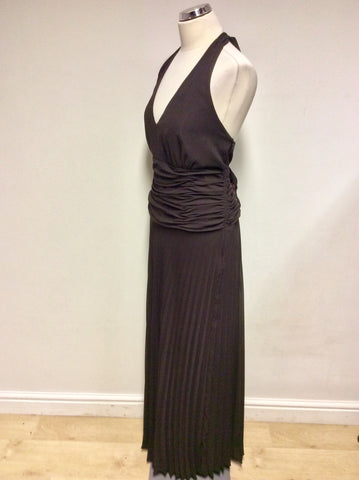 BRAND NEW MONSOON CHOCOLATE BROWN HALTERNECK LONG OCCASION DRESS SIZE 18