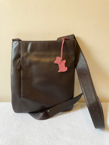 RADLEY DARK BROWN LEATHER CROSS BODY BAG