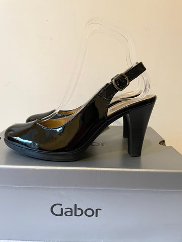BRAND NEW GABOR BLACK PATENT LEATHER SLINGBACK HEELS SIZE 4/37