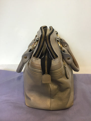 MODALU PIPPA SHARK GREY LEATHER TOTE BAG WITH DETACHABLE STRAP