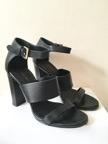 MULBERRY BLACK LEATHER HIGH CHUNKY HEEL SANDALS SIZE 5/38