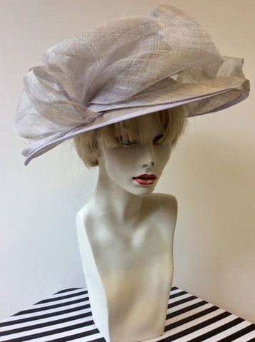 PALE LILAC BOW TRIM WIDE BRIM FORMAL HAT