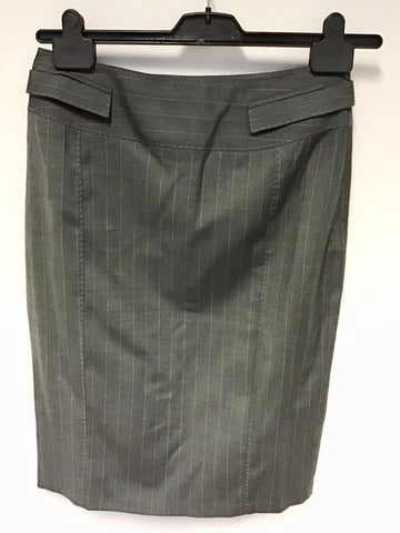 BRAND NEW KAREN MILLEN GREY PINSTRIPE WOOL BLEND PENCIL SKIRT SIZE 12