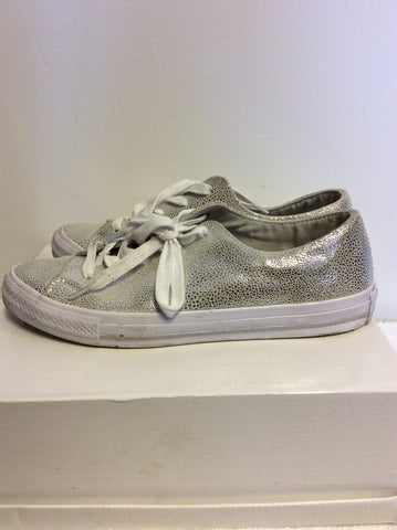 CONVERSE ALL STAR SILVER SPARKLE LEATHER PLIMSOLS SIZE 6/39