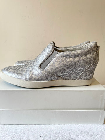 BRAND NEW KENNEL & SCHMENGER RAGDOLL SILVER DAISY PRINT LEATHER WEDGE TRAINERS SIZE 6/39