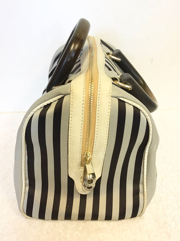 HENRI BENDEL BLACK & GREY STRIPED WITH IVORY LEATHER TRIM SHOULDER / HAND BAG