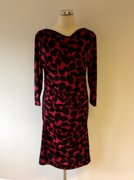 PHASE EIGHT DEEP PINK & BLACK PRINT STRETCH DRESS SIZE 12