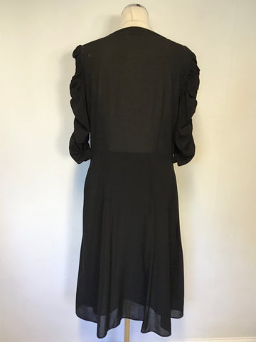 & OTHER STORIES BLACK SILK BLEND V NECKLINE 3/4 SLEEVE TEA DRESS SIZE 12/14