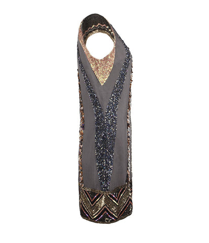 BRAND NEW ALL SAINTS BLOQUES DAZZLE DRESS IN PETROL GREY SIZE 10