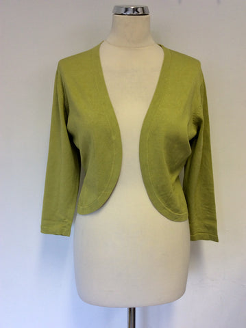 HOBBS LIGHT GREEN SILK BLEND BOLERO CARDIGAN SIZE XL