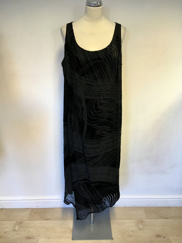 BRAND NEW MARINA RINALDI BLACK SILK & VELVET DESIGN LONG DRESS & JACKET SIZE 25 UK 20