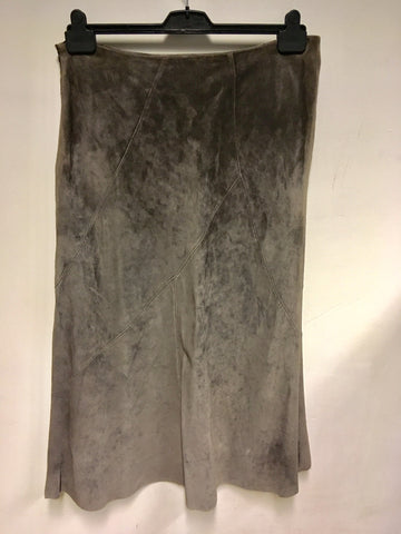 BETTY BARCLAY BROWN SUEDE CUT AWAY FRONT LONG SKIRT SIZE 18