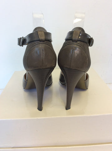 HUGO BOSS GREY LEATHER T BAR HEELS SIZE 6/39