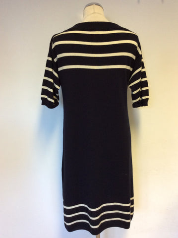 JIGSAW NAVY BLUE & WHITE STRIPE SHORT SLEEVE WOOL KNIT DRESS SIZE L