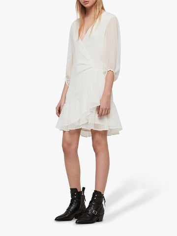 BRAND NEW ALL SAINTS JADE CHALK WHITE WRAP ACROSS 3/4 SLEEVE DRESS SIZE M