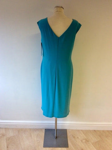 BRAND NEW GINA BACCONI TURQOUISE SCOOP NECK DRESS SIZE 16