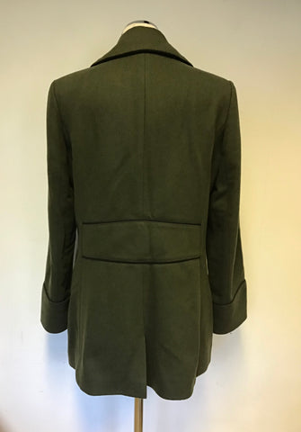 JOULES ARMY GREEN WOOL BLEND DOUBLE BREASTED SHORT COAT SIZE 14