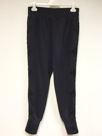 BRAND NEW TED BAKER NAVY BLUE LIZEEB LACE TRIM JOGGERS SIZE 2 UK 10/12