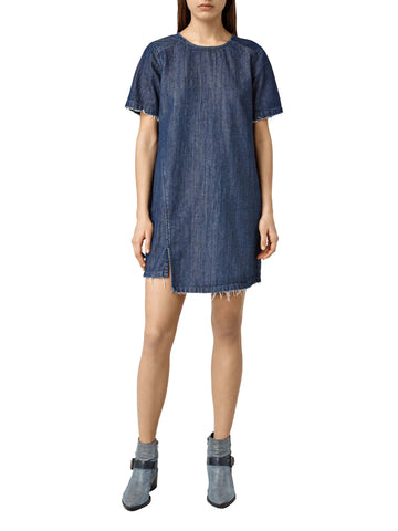 ALL SAINTS MIRA BLUE DENIM SHORT SLEEVE MINI DRESS SIZE 6