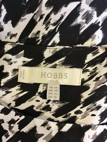 BRAND NEW HOBBS BLACK,WHITE & GREY PRINT 3/4 SLEEVE TOP SIZE 14