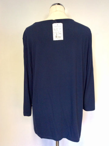 BRAND NEW BARBARA LEBEK DARK BLUE,GREY & SILVER PRINT TOP SIZE 20