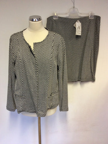 BRAND NEW ADINI BLACK & WHITE SPOTTED JACKET & SKIRT SUIT SIZE L2 UK 18/20