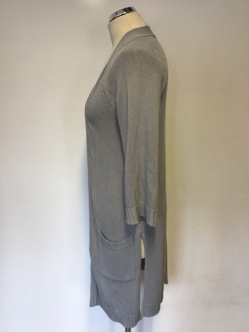 JIGSAW LIGHT CREY LONG COTTON CARDIGAN WITH POCKETS SIZE S