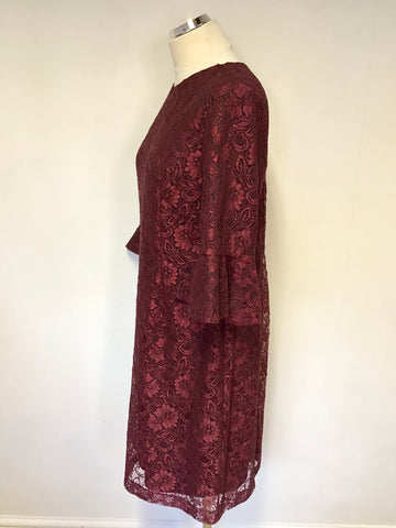 COAST DARK RED MERLOT LACE 3/4 BELL SLEEVE PENCIL DRESS SIZE 18