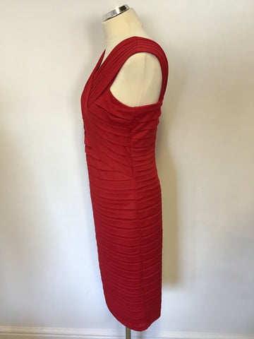 ALEXON RED PLEATED STRETCH PENCIL DRESS SIZE 12
