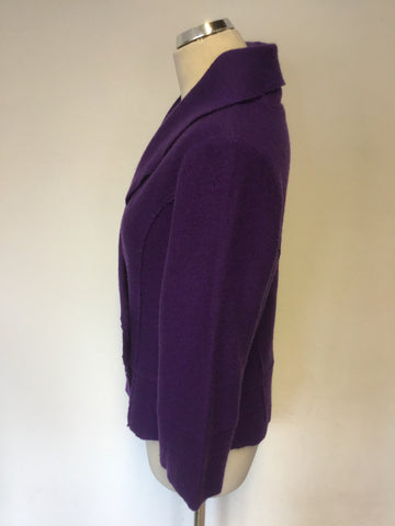 HOBBS PURPLE WOOL KNIT DOUBLE BREASTED CARDIGAN/ JACKET SIZE 14
