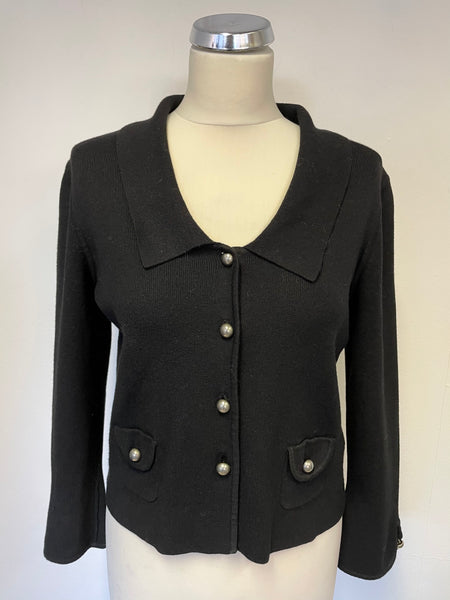 NINE WEST BLACK COLLARED KNIT CARDIGAN/ JACKET SIZE M