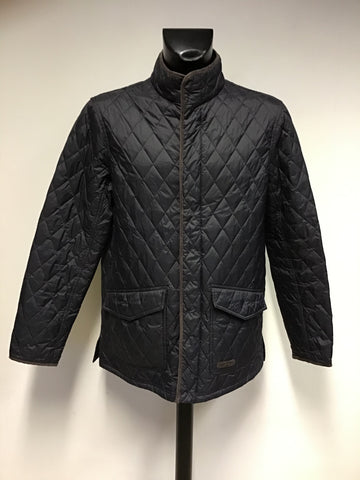 MUSTO BLACK & BROWN TRIM LIGHTLY QUILTED COUNTRY JACKET SIZE L