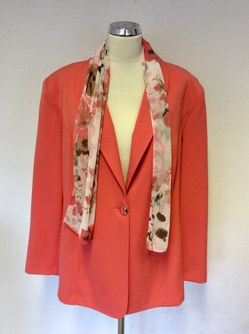 BRAND NEW HUDSON & ONSLO APRICOT JACKET WITH DETACHABLE SCARF SIZE 22