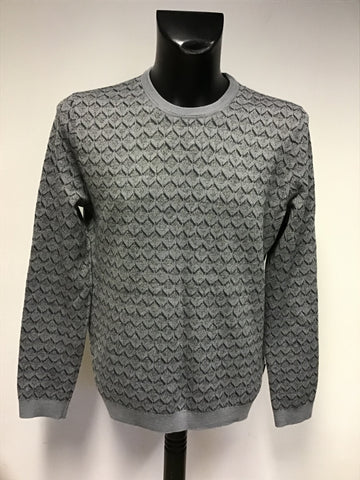 TED BAKER GREY WOOL BLEND CREW NECK JUMPER SIZE 6 UK L
