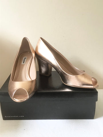 BRAND NEW DUNE ROSE GOLD PEEP TOE BLOCK HEELS SIZE 7/40