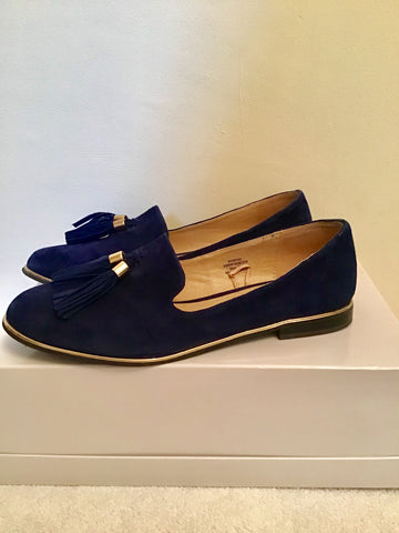 GALLERY DARK BLUE SUEDE TASSEL TRIM LOAFERS SIZE 6/39