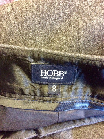 HOBBS GREY WOOL CROP TROUSERS SIZE 8