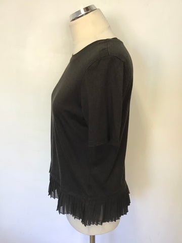 WHISTLES BLACK SHORT SLEEVE PLEATED HEM T SHIRT TOP SIZE 12