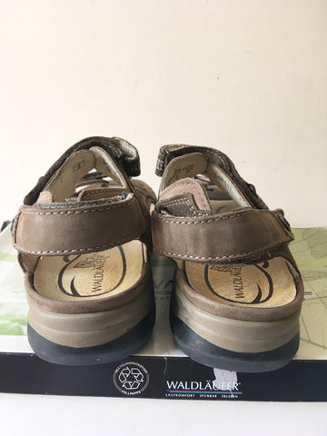 WALDLAUFER BROWN LEATHER COMFORT SANDALS SIZE 4/37 WIDTH H