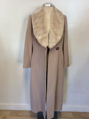 BRAND NEW JACQUES VERT PUTTY BEIGE DETACHABLE FAUX FUR COLLAR COAT SIZE 12