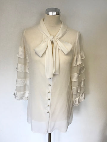 ALICE TEMPERLEY IVORY SILK PUSSY BOW TIERED SLEEVE BLOUSE SIZE 10